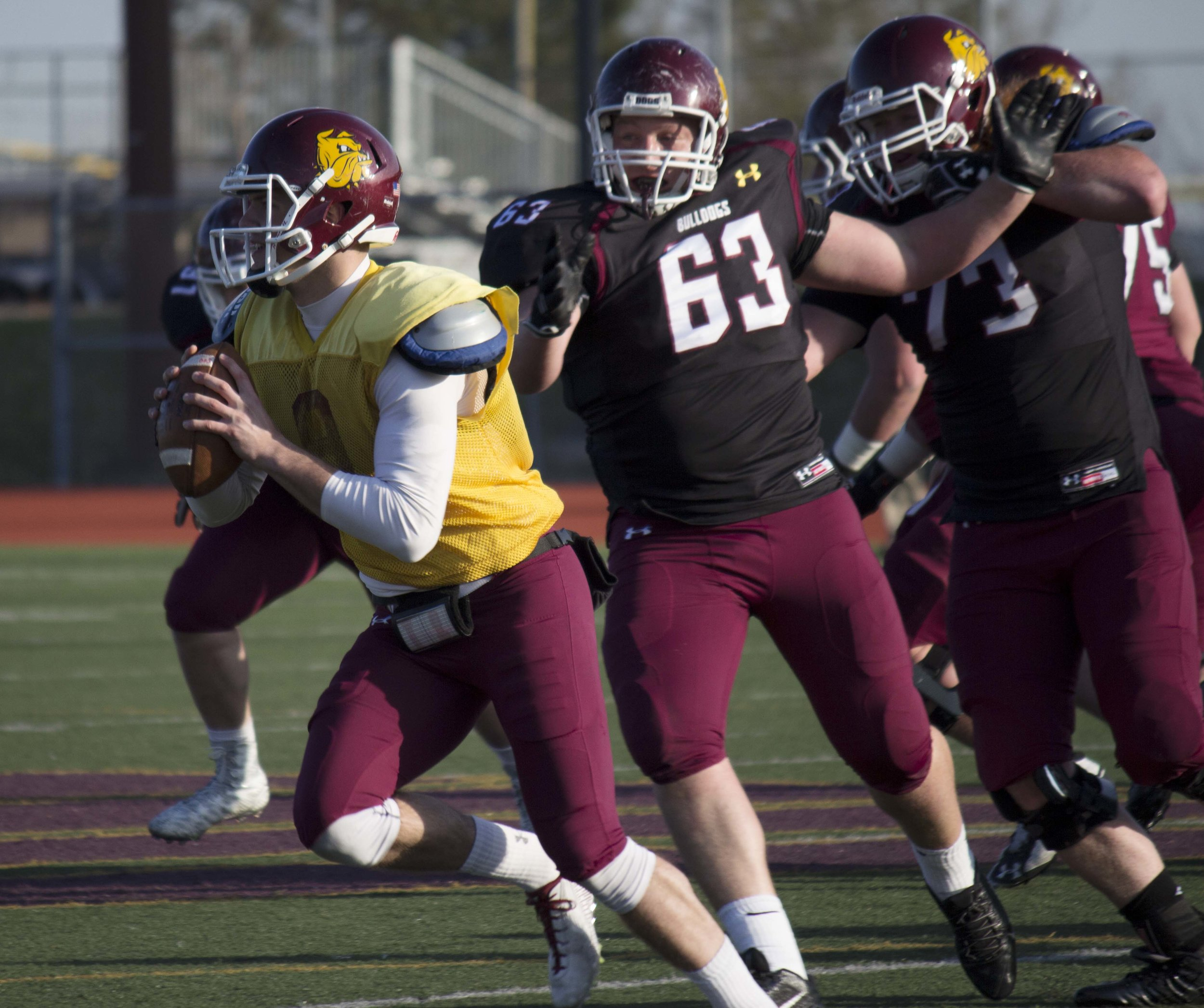 After missing the final three games pf the 2015 season, quarterback Drew Bauer returned to form in the spring football game, passing for 144 yards and one touchdown. Bauer also led the maroon team on a game winning drive, capped off by a well thrown touchdown pass to James Connor with 31 seconds to play to give the maroon team a 14-10 win over team white. BRAD EISCHENS/STATESMAN