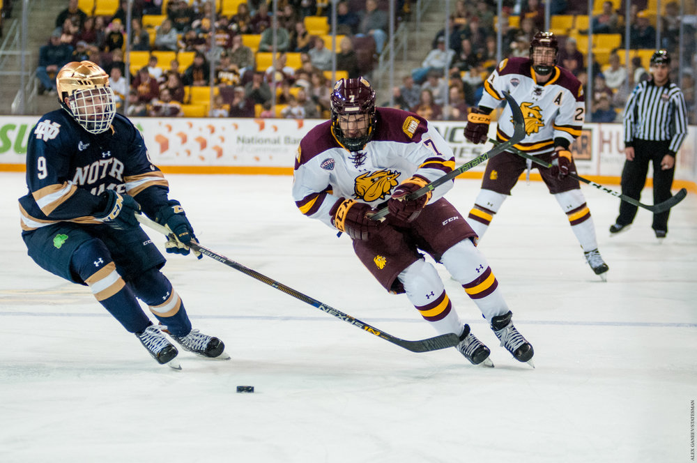 Adam Johnson earned himself the NCHC player of the week for his 3 goals this past weekend. Photo by Alex Ganeev