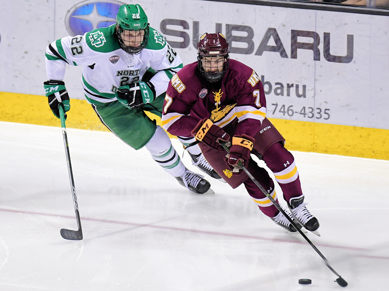 Sophomore forward Adam Johnson flies up ice against the Fighting Hawks last weekend.  Picture credit: Russel Hons