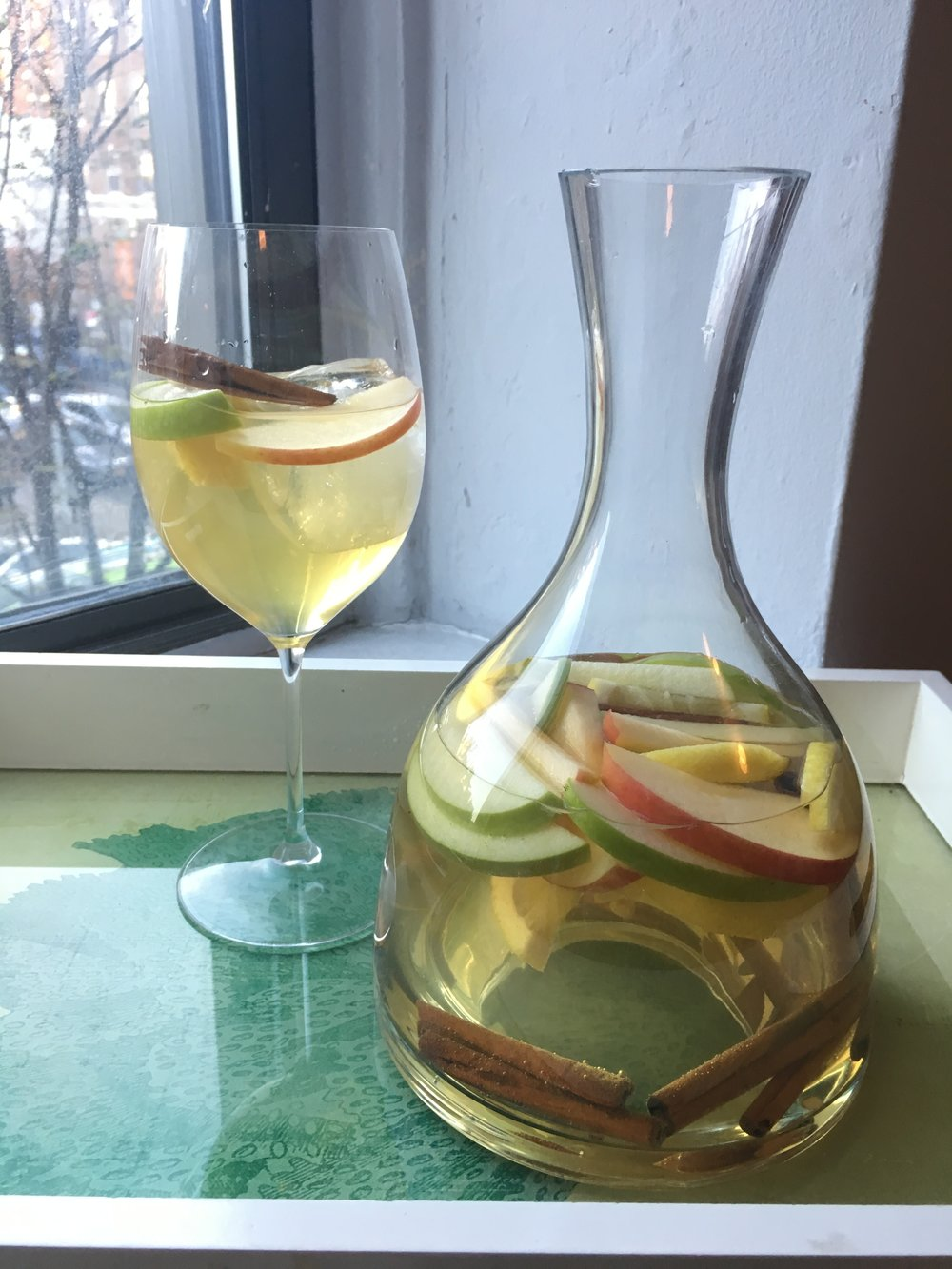 Booze helps...Autumn Sangria with apples, cinnamon, white wine and single malt scotch