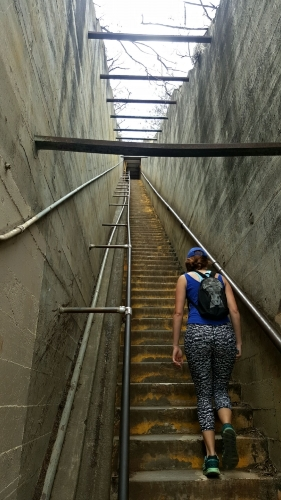 Hiking the last steps to the top of Diamond Head Crater in Oahu, Hawaii. November 2016