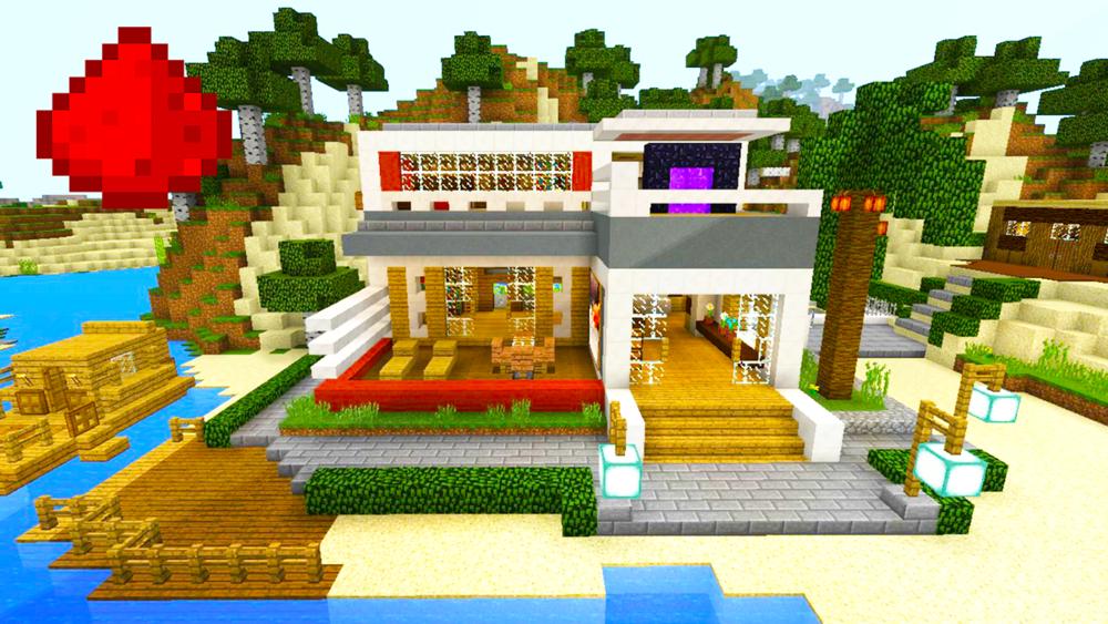 Mcpe redstone beach house minefreak for Modern house mcpe 0 14 0