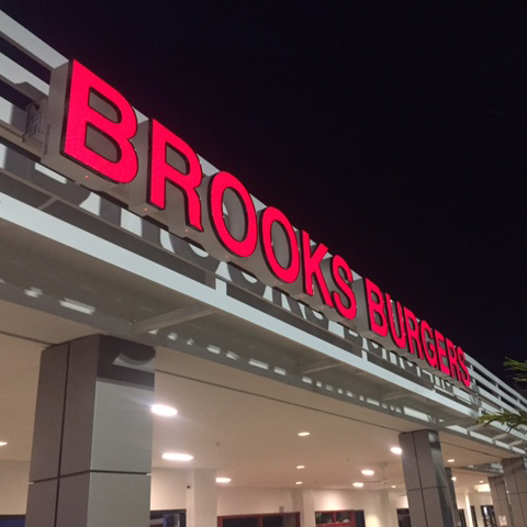 Brooks Burgers Channel Letter Sign developed with lighting and acrylic consultation by DMA