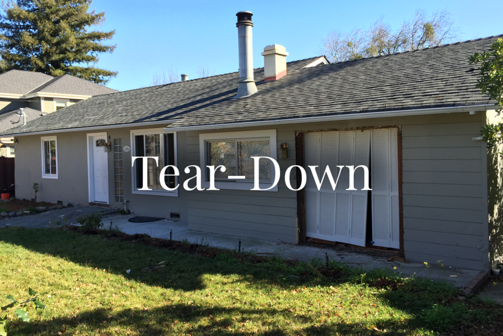 "TEAR-DOWN A ""tear-down"" mostly refers to the condition of the property - one that is in such disrepair that the best use for it is to tear it down and rebuild a new property in its place."