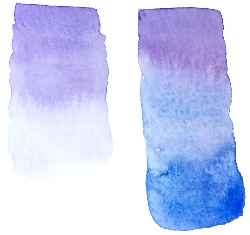 Left - Gradient (Ombré) TeChnique  Right- Blending Technique