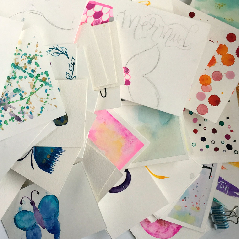 Up-cycling old scraps of watercolor paper- 'mess ups' add interesting colors and texture