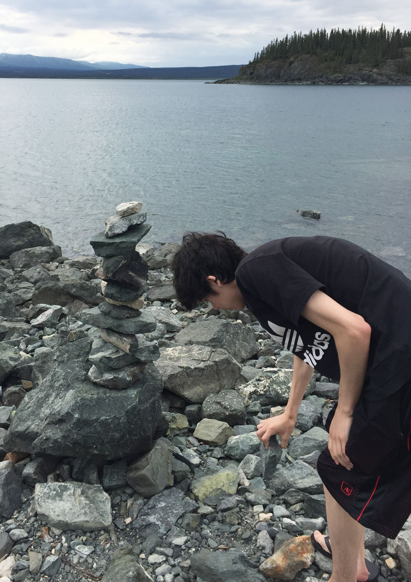 My son tried to add a rock, but decided not to 'rock the boat.'