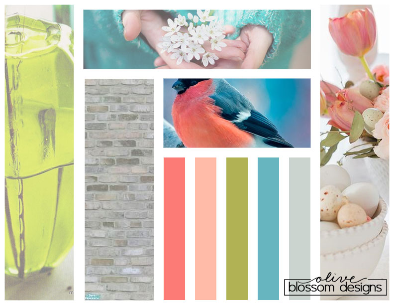 For this mood board, I used Pinterest for color inspiration and then found photos to match each color