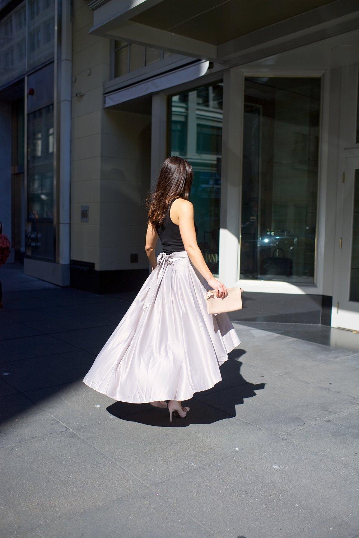 grey silk skirt fof