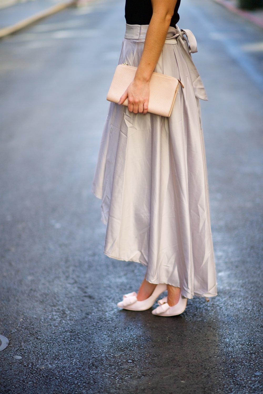 grey silk skirt freckles on fillmore
