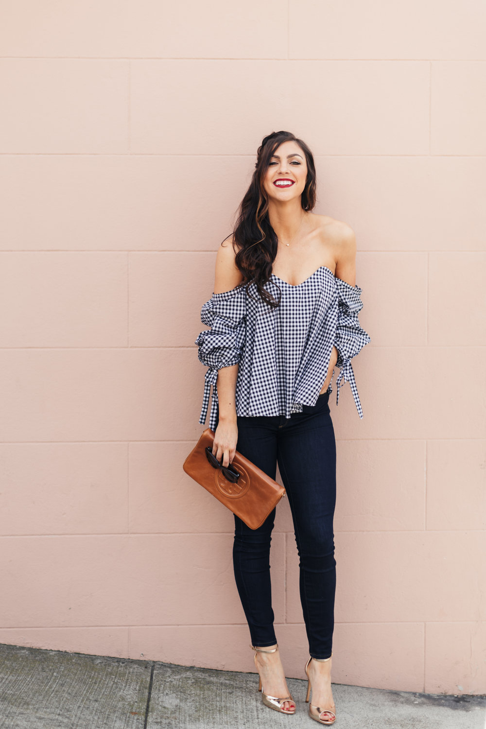 off the shoulder gingham freckles on fillmore