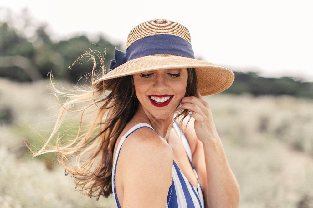 straw blue hat stripes