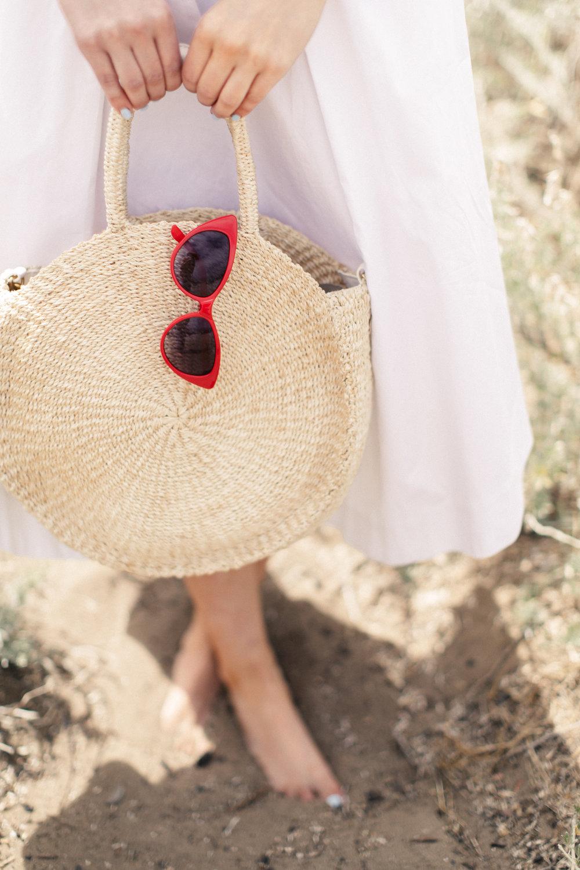 summer straw bag red sunglasses beach