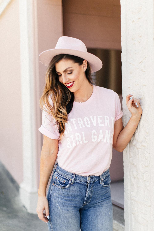 introvert girl gang pink shirt