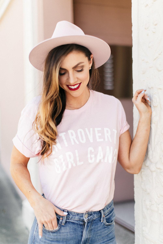 pink tee pink hat