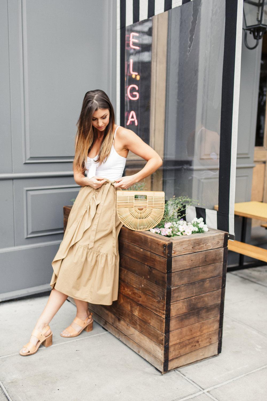 ruffled tan skirt spanish style