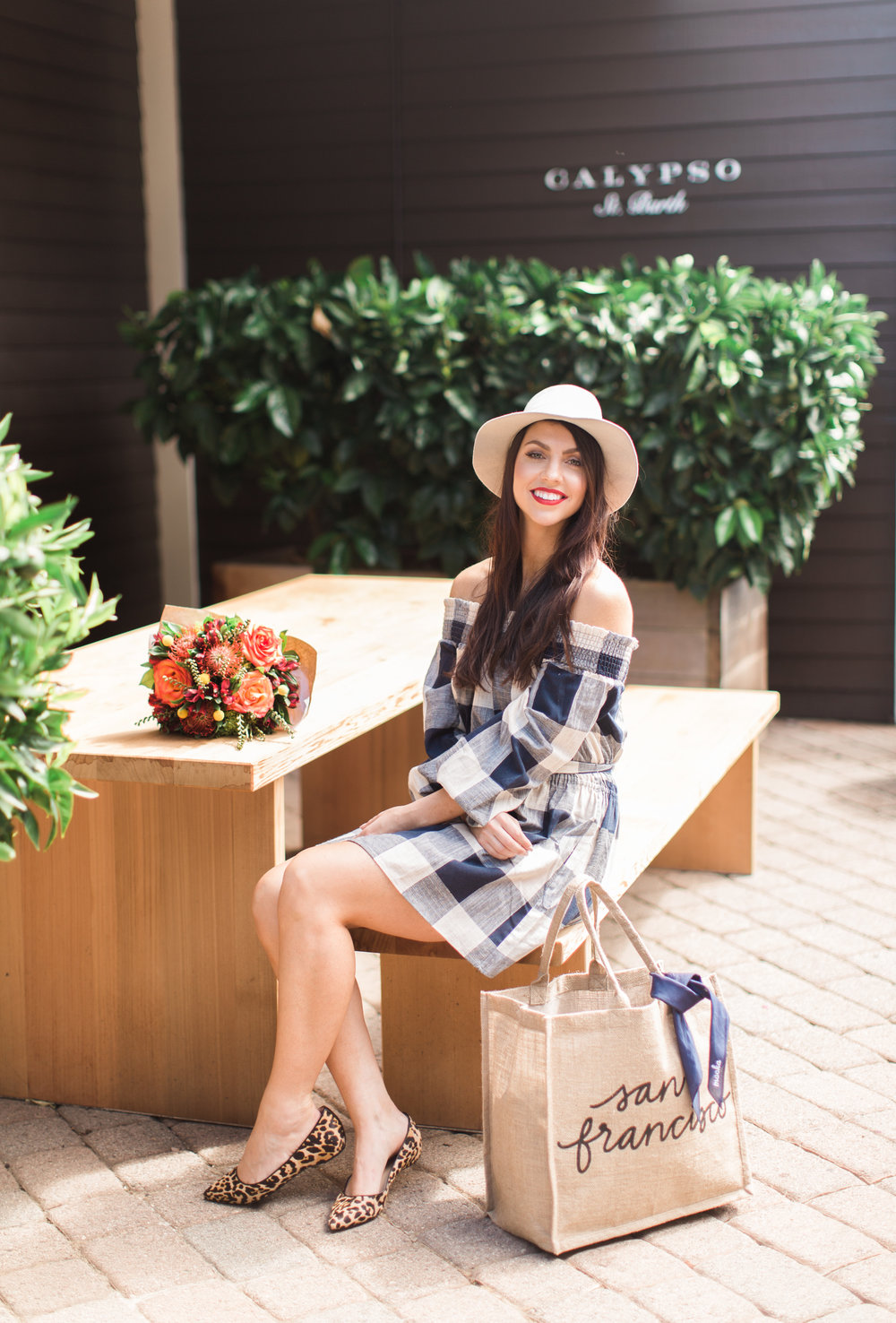gingham blue and white dress fall