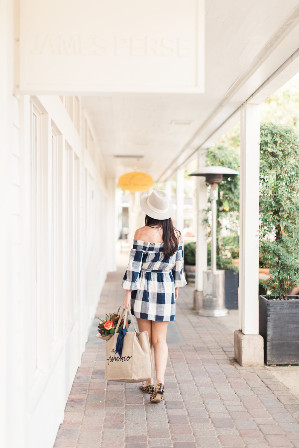 gingham blue and white dress fall leopard flat