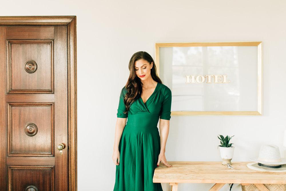 palihouse hotel santa monica green vintage dress