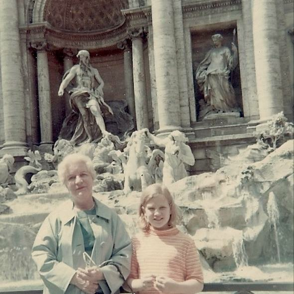 Jane with her grandmother in Rome in the late 1960's