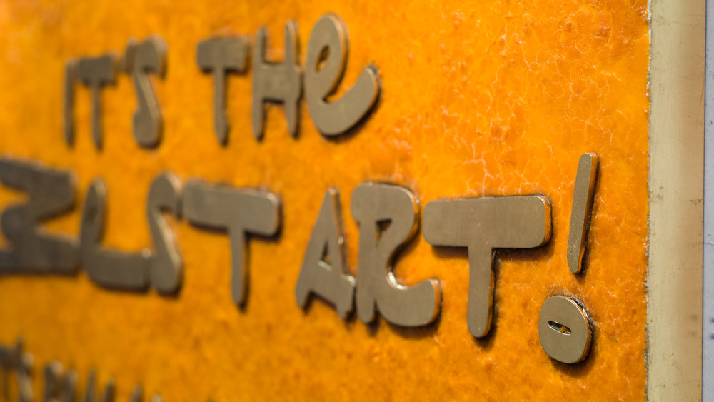 It's the Best Art! I Guarantee It (Detail of fake gold lettering and edge)