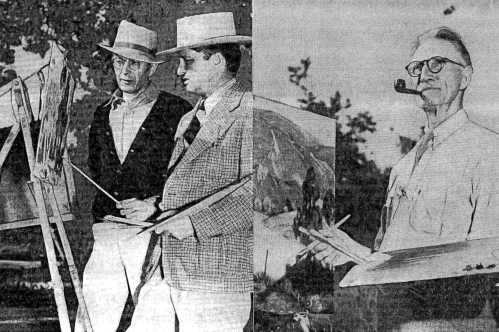 Artists Cornelis Botke, Douglas Shively, and R.P. Smith prepare for the first Santa Paula Art Show in 1937.