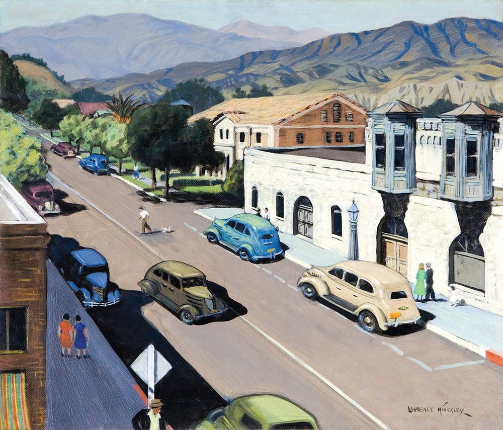 "Lawrence Hinckley's 1937 painting entitled ""10th and Main Street"" gives a glimpse of the Mediterranean Revival style building."