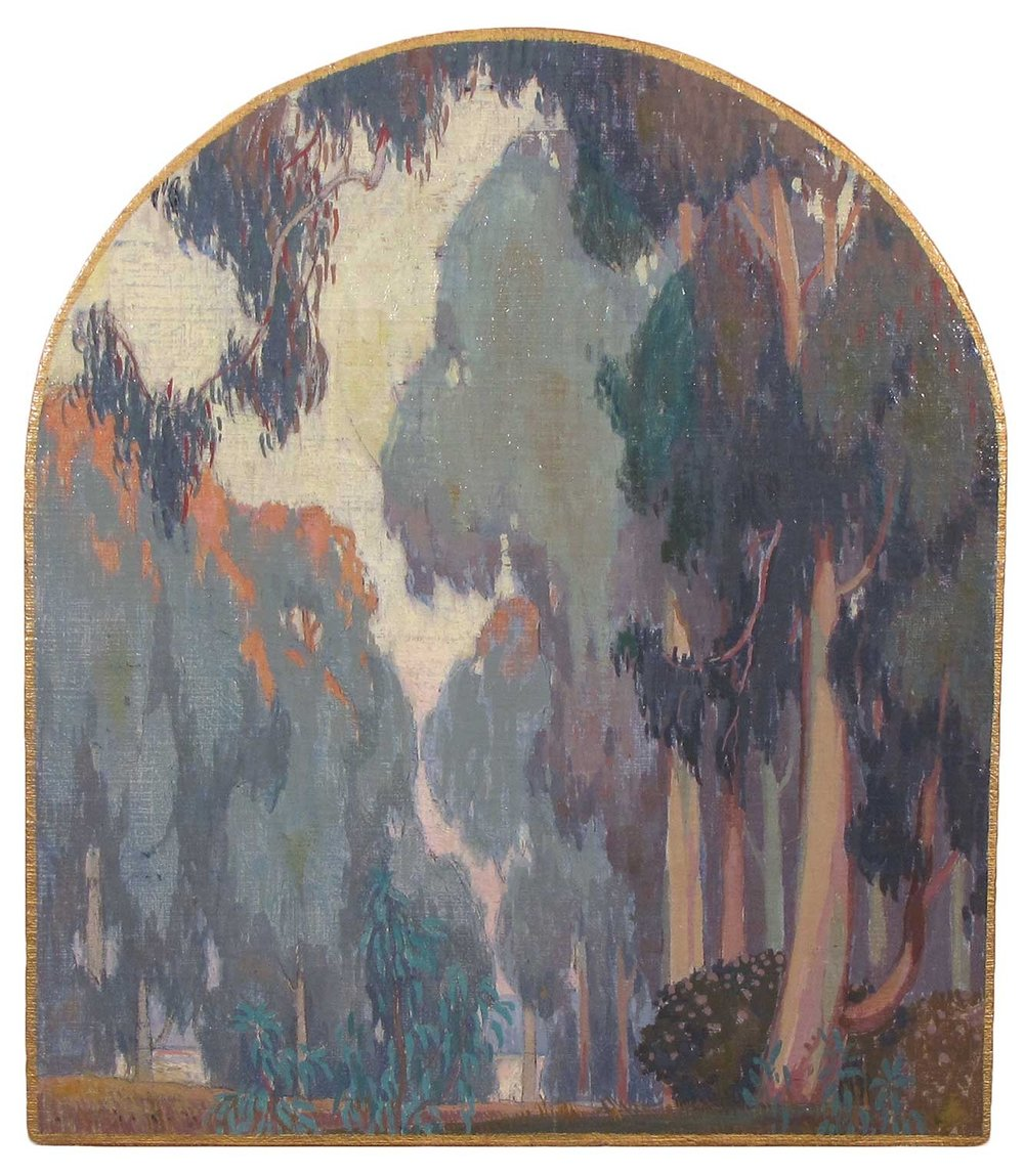 """Study for Harold B. Skillin Mortuary Mural"" by Cornelis and Jessie Arms Botke, 1933, oil on board, 14 x 12.5 inches, Gift of Joanna and Randy Axell."