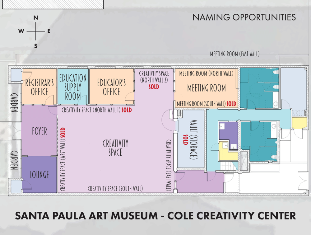 Click to enlarge to see the floor plan of the Cole Creativity Center and available naming opportunities.