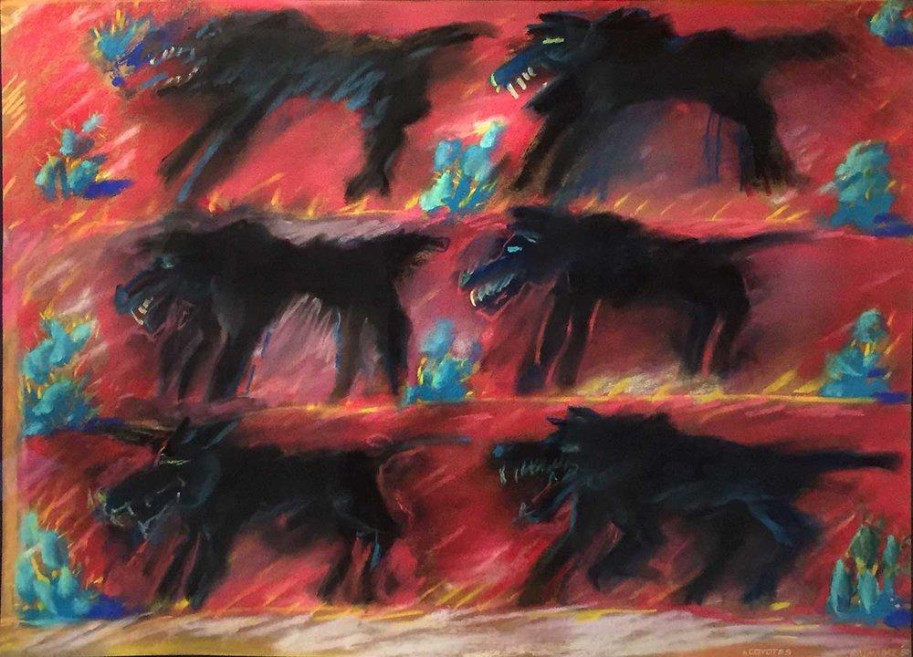 SANTA PAULA ART MUSEUM 6 COYOTES BY CARLOS ALMARAZ