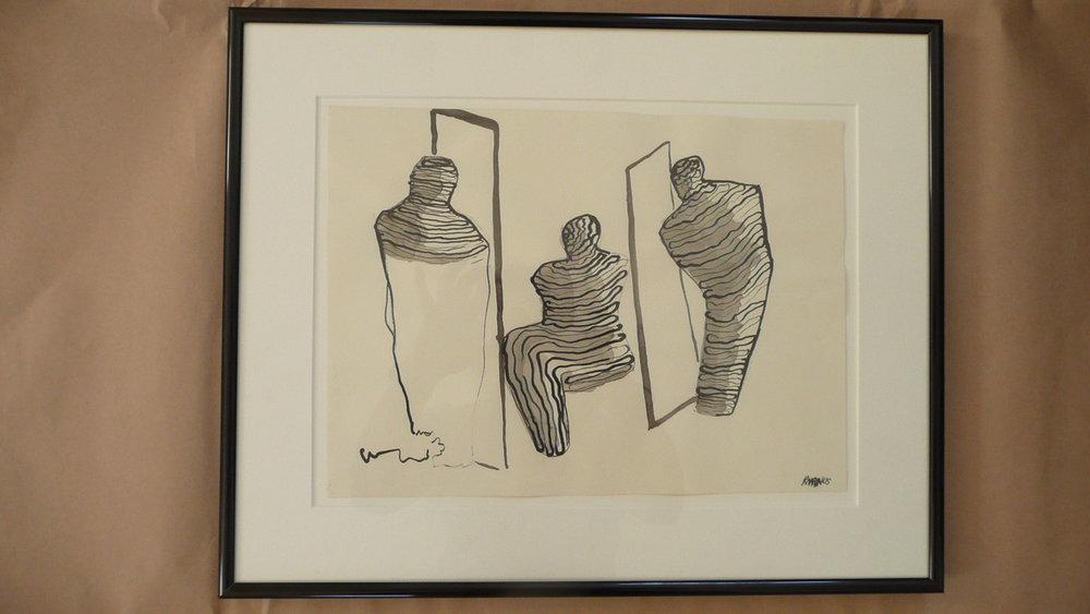 RHONDA MAGNUS.wall of restrain. INDIA INK ON PAPER. 14X17. framed .jpg