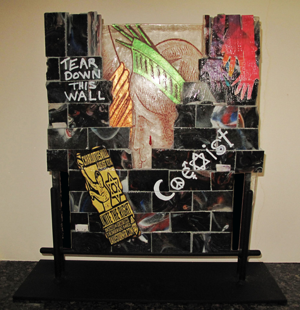 FRANCES ELSON, THE WALL THAT DESTROYS, FUSED GLASS, CAST GLASS, MIXED MEDIA, 16 x 16 x 4D.jpg