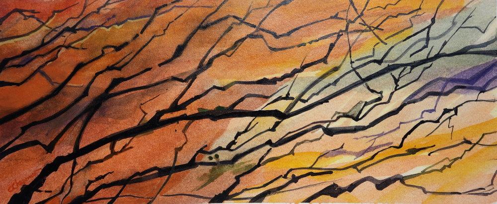 Chris Chapman, Wall of Fire, Gouache, 6x12.jpeg.JPG
