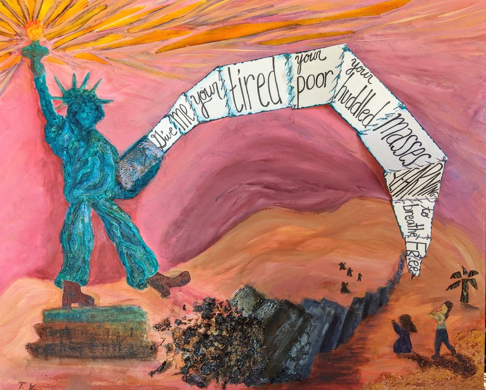 ThereseVerner Torch Girl Stomps the Wall and Unites Families Mixed Media 24x30.jpg