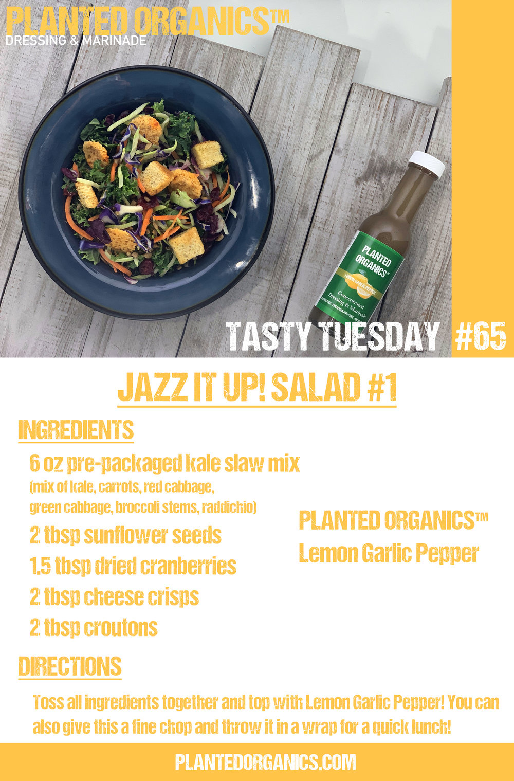 Tasty Tuesday #65! - This week is the first of our Jazz it Up! salads. Here we take a pre-packaged salad mix readily available at any local grocer, add a few ingredients and make it shine! Enjoy!