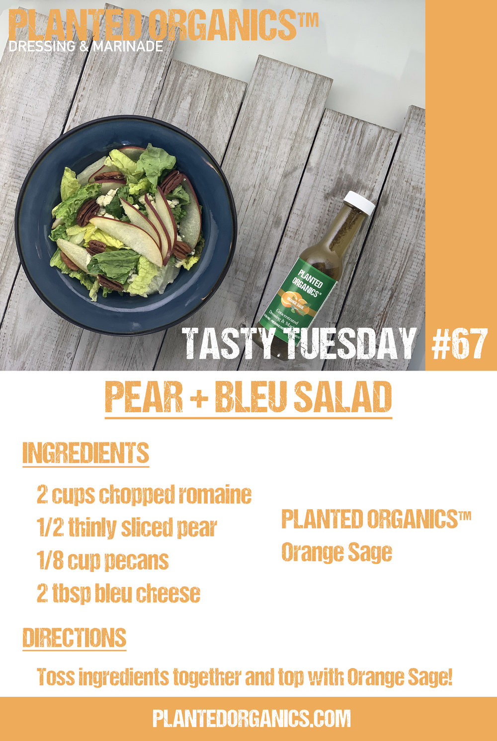 Tasty Tuesday #67! - 2/26/18 - This week's recipe is a simple Pear + Bleu salad! The brightness of Orange Sage pairs perfectly with bleu cheese! Hope you enjoy!