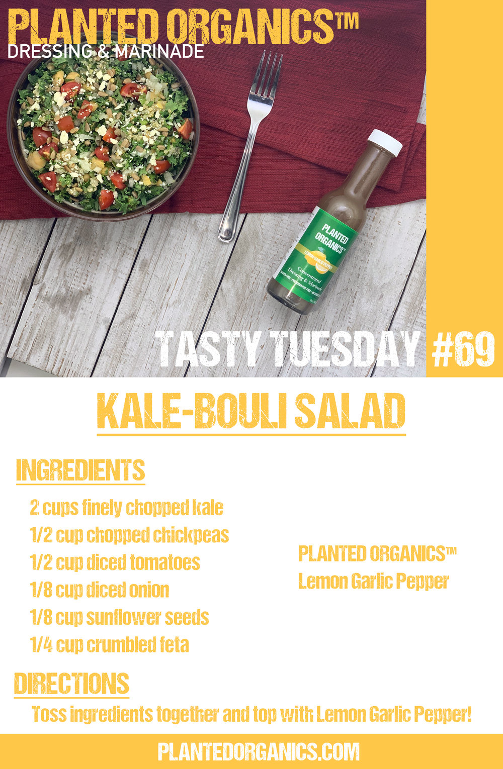 Tasty Tuesday #69! - This week is a Kale-bouli salad! Inspired by the original mediterranean dish, this remixed salad is also gluten free! Starring our Lemon Garlic Pepper dressing, this salad packs a punch!