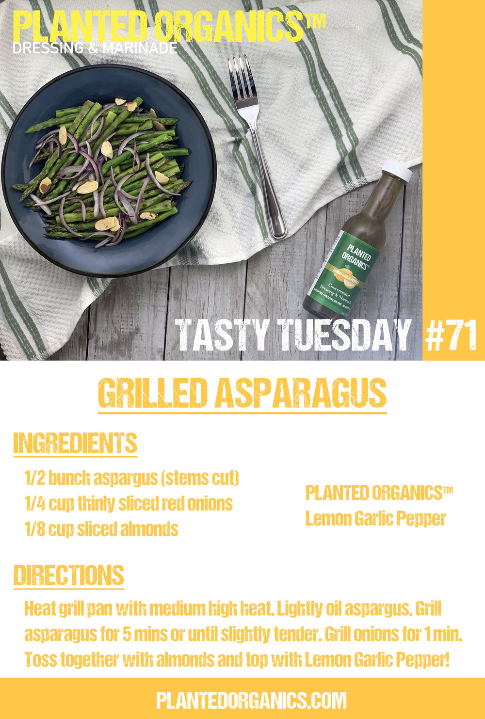 Tasty Tuesday #71! - This week is a simple Grilled Asparagus side dish that also makes a great addition to salads! This one features our Lemon Garlic Pepper!