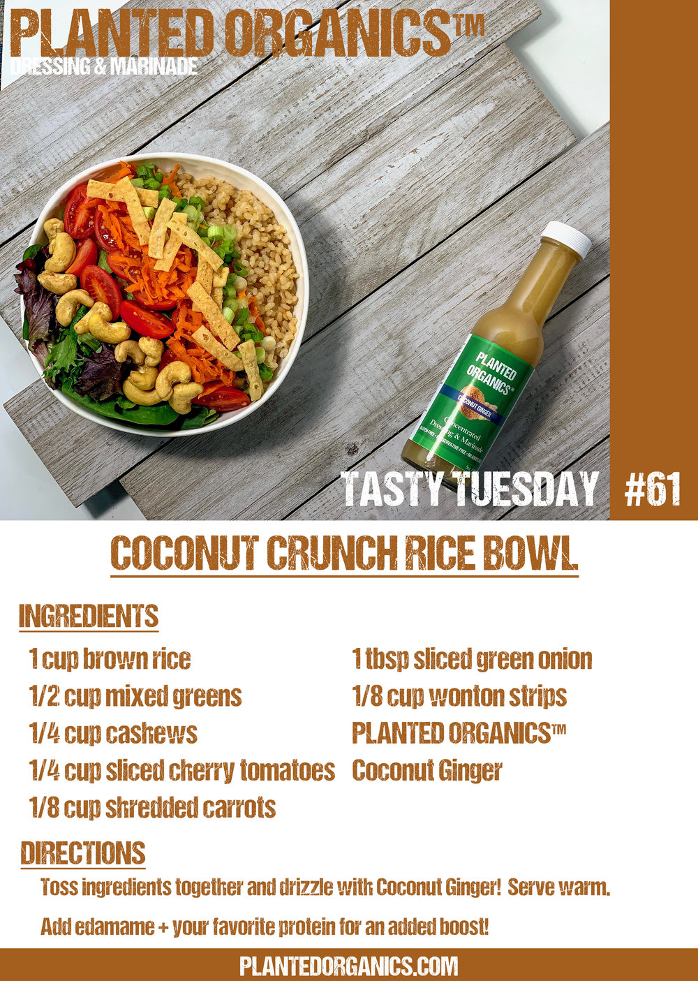 Tasty Tuesday #61! - This rice bowl is sure to impress! Featuring our Coconut Ginger its tough to beat!