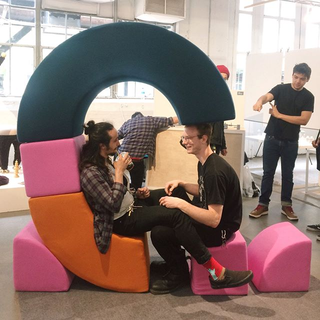 Mobu is for besties . . . . . #wool #pink #orange #soft #playful #wanteddesign #wanteddesignnyc #wanteddesignbrooklyn #furniture #furnituredesign #furnituredesigner #muebles #memphisgroup #ettoresottsass #productdesign #industrialdesign #diseño #meubles #makersgonnamake #maker #softgoods #upholstery #handmade