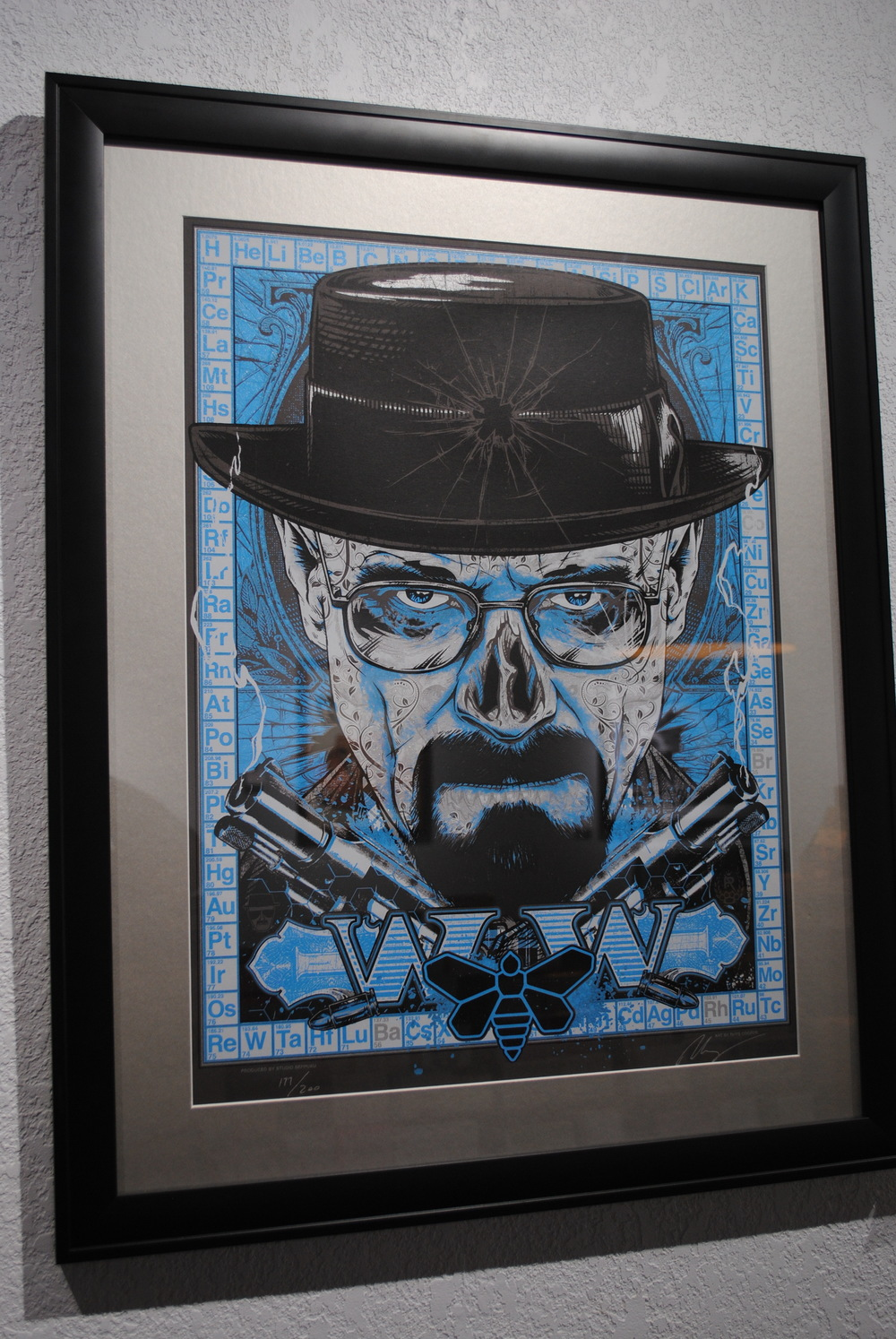 Rhys Cooper silkscreen in metallic inks of Walter White in Breaking Bad. $350
