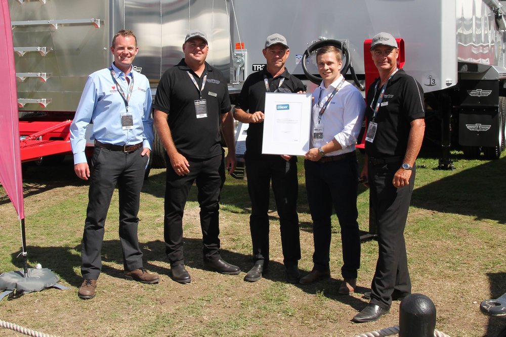 My Inner Strenx accreditation officially awarded to T&G at THE Expo 2017. Left-right: Real Steel's Luke Mathieson, T&G's Craig Jamieson, T&G's Greg Cornes, SSAB's Juha Erkkilä, T&G's Mike Stevenson.