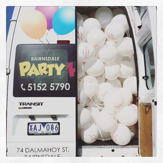 Party hire Bairnsdale providing us many balloons for today!
