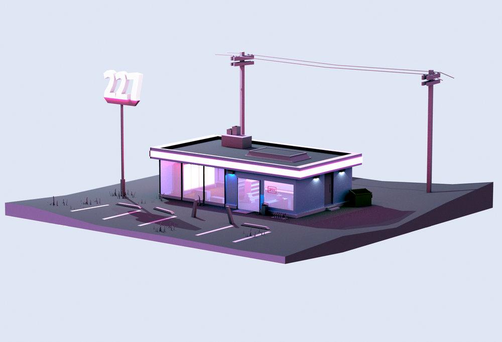 IRIS 227 Convenience Store 3D Concept Art
