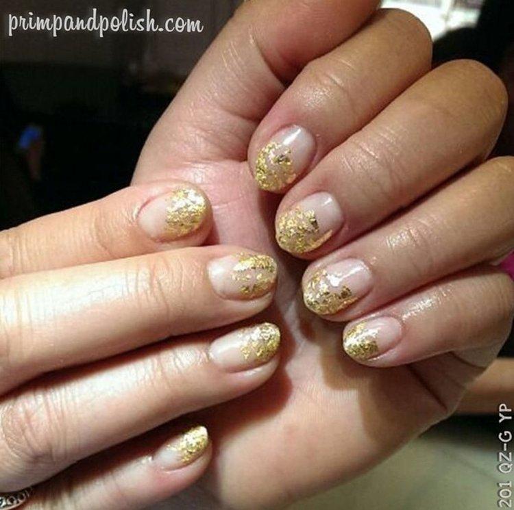 metallic nail manicure