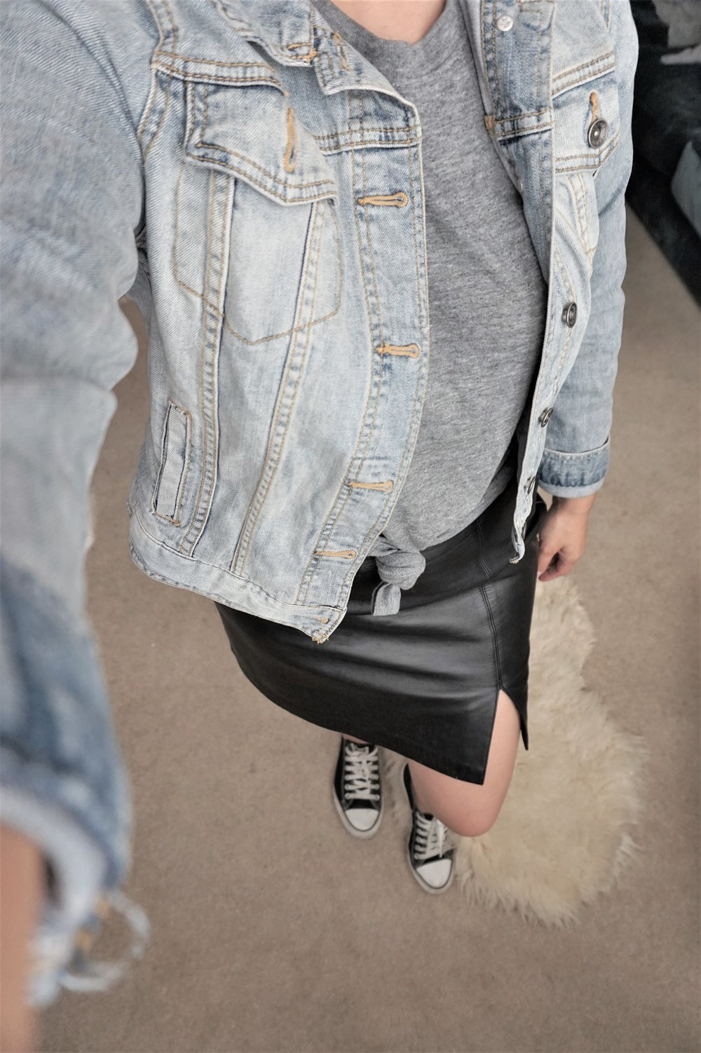Denim Jacket: Thrifted Mossimo jacket $4.99 Leather skirt: Thrifted Alfani leather skirt $8.00 Shirt: Random shirt from my hubby's shirt collection Shoes: Gifted