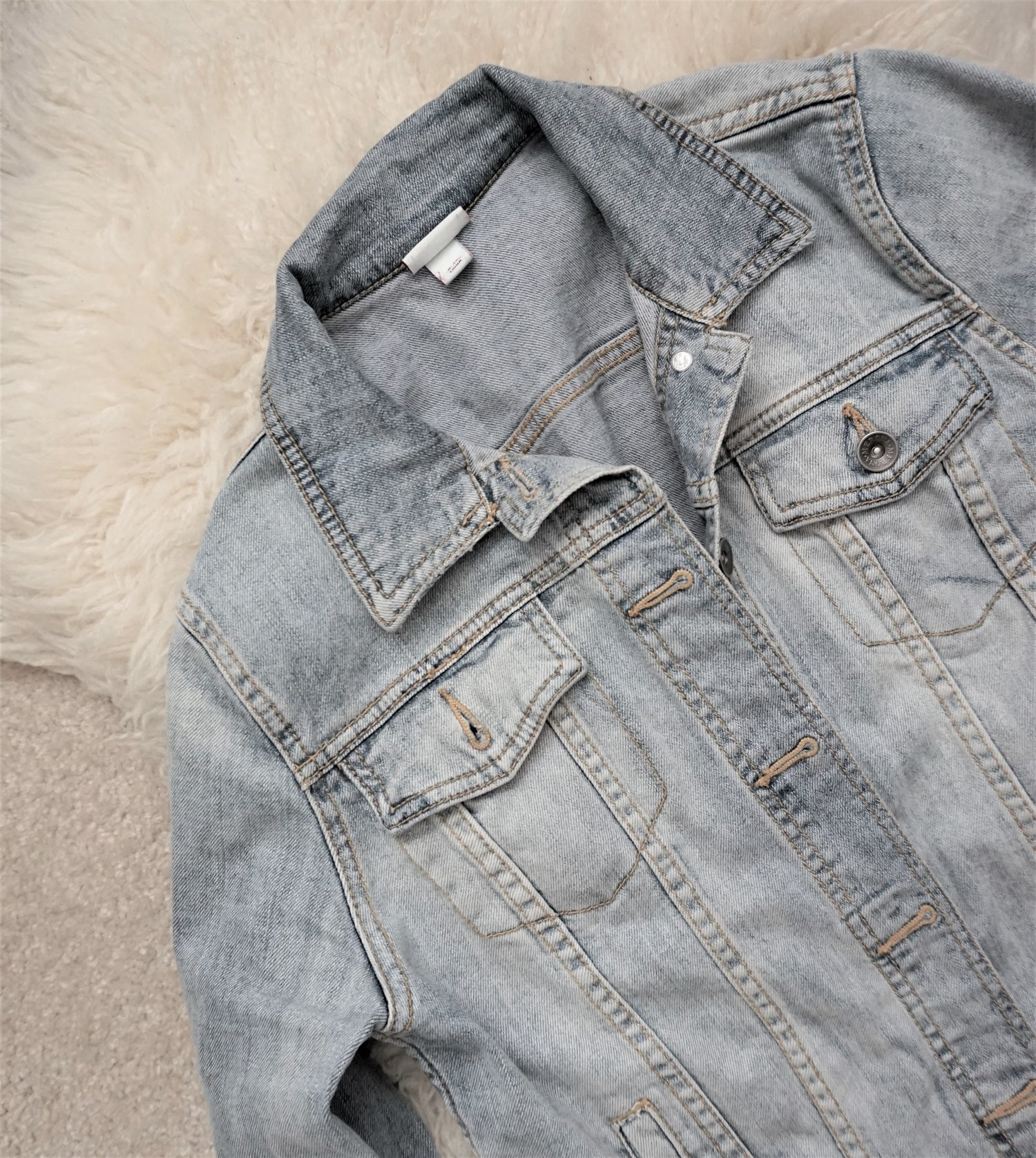 Denim Jacket, original thrifted price: $9.99, 50% off, total-$4.99