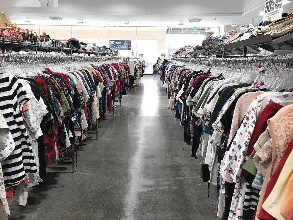 thrift store bargain shopping