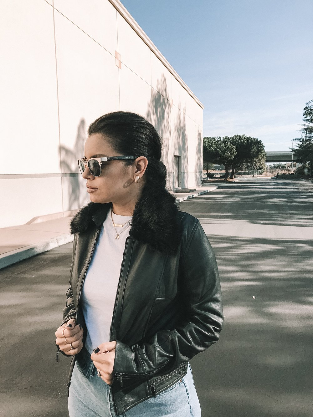 leather faux fur jacket fall outfit