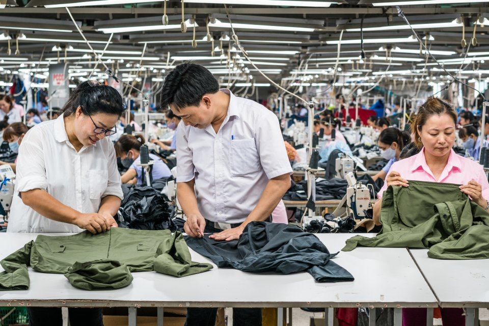 Everlane's technical outerwear factory in Bac Giang, Vietnam. The factory's owner, Mr. Song, produces for a small list of brands, choosing to be particular and focused rather than broad and generalized.